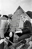 Jim Rees and Pat Power in Old Castlemacadam Graveyard, Arklow.  Circa 1986