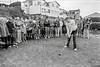 Joe Horan 'driving in' as Captain of Arklow Golf Club.  Circa 1986