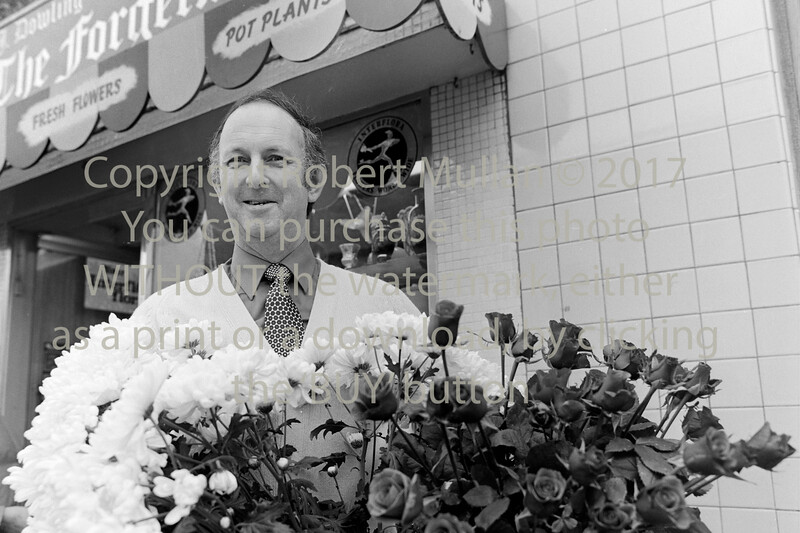 Florist PJ Dowling outside his Main St shop, 'The Forgetmenot'. Circa 1980s
