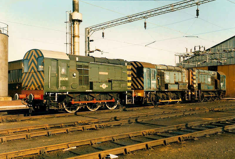Happy days at Bletchley TMD on 2 March 1986 as 08011 HAVERSHAM + 08909 + 08684 rest on shed. 08011 survives in preservation at Chinnor, 08684 was scrapped at Bicester in 1995 and 08909 was sent from Toton for scrapping at Booth's on 10 August 2011.