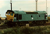Whoops !! 25151 is noted inside Toton Training Compound on 6 September 1986. She had run out of control in 1982 after suffering brake failure. Never repaired and scrapped in January 1988.