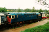 A partially cosmetically restored 26010 stands at Pitsford on the Northampton & Pitsford Railway on 10 May 1997.