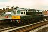 Celebrity green 33008 Eastleigh passes light through Tonbridge on 10 February 1994.