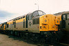 Complete with Cardiff depot plaque, 37010 stands at Newport Godfrey Road on 15 March 1992.