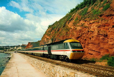 Sea, sandstone and sun as 43190 leads the 'CORNISH RIVIERA', the 0851 Penzance - Paddington past Dawlish on 17 August 1990.
