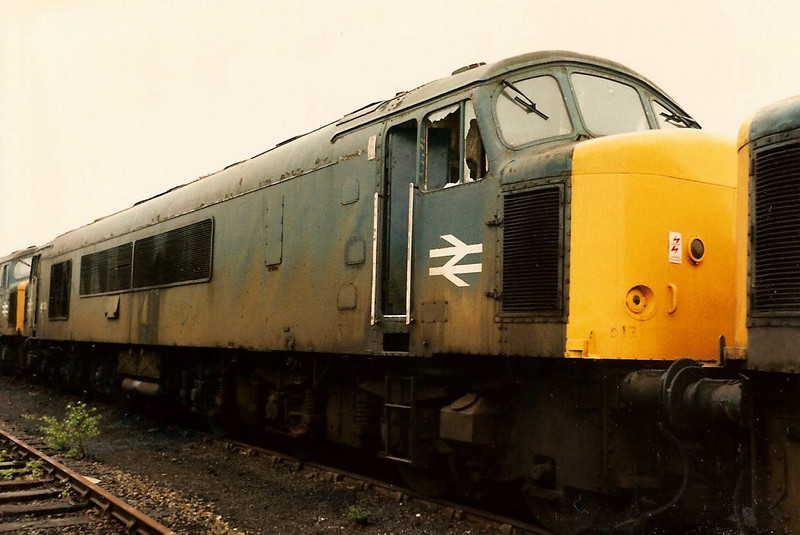 45001. the former D13 stands withdrawn at Toton on 17 May 1986. She was sent north in stages to reach Glasgow where she met her maker.
