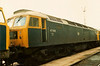 Stratford silver/grey roof adorned 47009 on its home depot on 4 May 1987. Withdrawn in 1991.