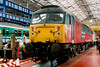 47771 Heaton Traincare Depot is greeted by the crowds at Crewe Works open day on 17 August 1996. This loco has 'Newcastle' roots having previously been named The Geordie whilst numbered 47503.