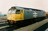 A tatty 47019 with white numbers stands at Didcot on 30 April 1993. Withdrawal came less than four years later.