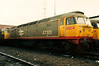 The Thornaby treatment ! 47301 sits at Thornaby with large white numerals atop of it's Red Stripe Railfreight livery on 27 February 1988. February 2003 would see 47301 go to the great railway graveyard in the sky !