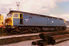 With front end damage, 47307 rests on Cardiff Canton depot on 4 September 1988. She was withdrawn eleven years later but was not scrapped until 2008.