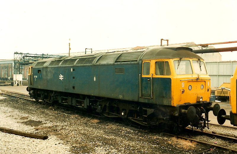 47001 is seen standing withdrawn inside Crewe Works on 21 February 1987. She was mooted to be preserved but nothing ever came of this and she was cut in 1994. Note the Haymarket castle logo on the bodyside.