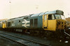 A withdrawn and shorn of her Agincourt nameplates, 50013 stands reflecting on past escapades at Old Oak Common on 1 October 1988.