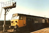 50004 St. Vincent stands at Penzance on mail vans on the 1 May 1986. Withdrawn in 1990 and cut two years later at Booths.