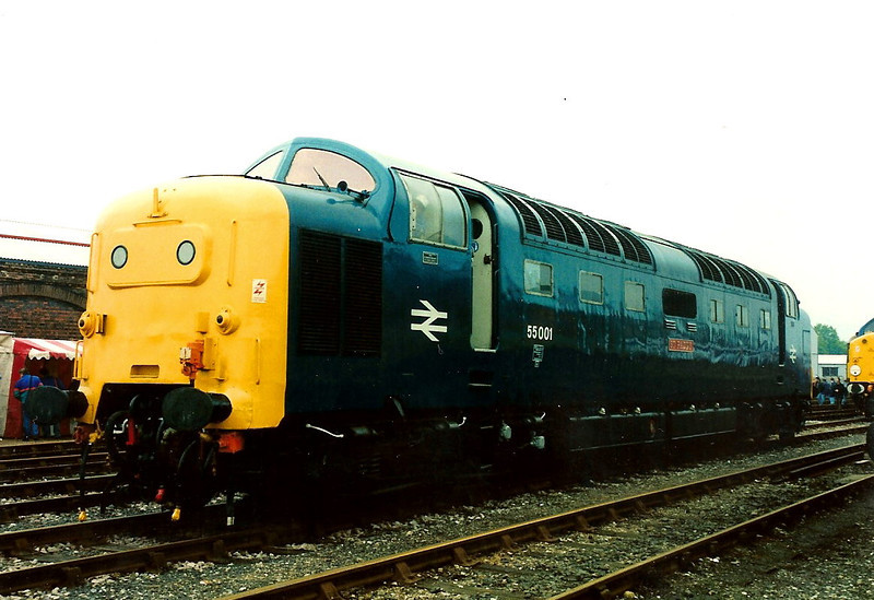 55001 well not quite. 55015 TULYAR is seen imposting as 55001 ST PADDY at Worcester open day on 22 May 1994.