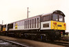Railfreight coal adorns 58020 Doncaster Works at rest on Shirebrook on 25 March 1989.