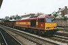 60036 heads East through Newport on steel empties on 23 July 1998.