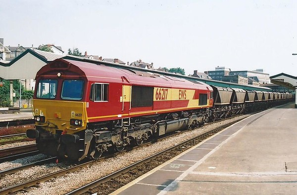 A clean 66217 heads West through Newport on 28 June 2000.
