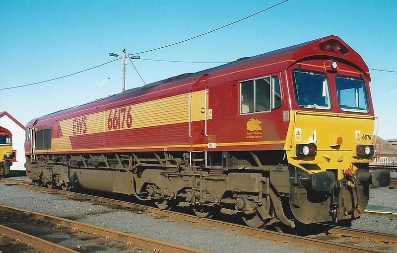 Ayr TMD is the setting for 66176, seen stabled on 19 February 2000. She had only been delivered from Canada on 17 November 1999.