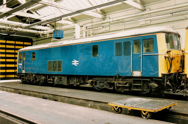 73001 or E6001 as she was originally was stands inside Chester TMD on 3 July 1993 en route to Merseyrail to start a new life on engineers trains around Liverpool. Now preserved at the Dean Forest Railway.