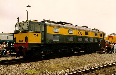 BR Class 77, number 27000 ELECTRA but carrying her 1502 number from her service in Holland is seen on display at Coalville open day on 31 May 1987.