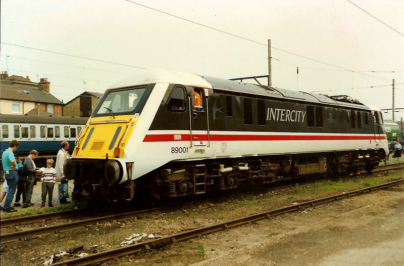 Swallow liveried 89001 Avocet stands on display at Ilford Open Day on 20 May 1989.