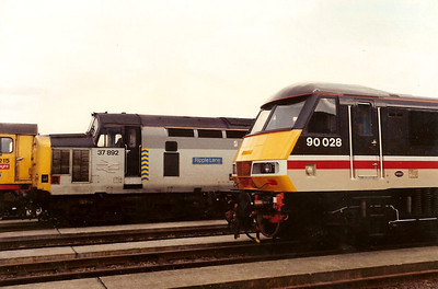 90028 is seen amongst friends on display at the Cricklewood 89 freight exhibition on 15 April 1989.