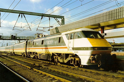 91001 Swallow is seen working the 1010 King's Cross - Leeds arriving at its destination on 26 October 1989.