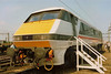 ECML machine 91013 is seen open to visitors for cab inspection at Bescot open day on 6 May 1990.