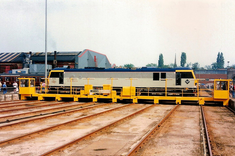 92002 H.G.Wells stands on the 'travvy' at Crewe Works open day on 17 August 1996.