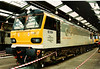 92004 Jane Austen stands inside the maintenance shed at Crewe Electric Open day on 3 May 1997.