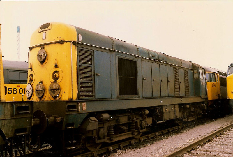 20001 stands at Worksop on 7 June 1987. She is now preserved at the Midland Railway Centre, Butterley.