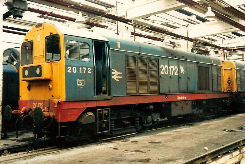 20172 Redmire carrying large and standard size numbers inside Thornaby TMD  on 27 February 1988.