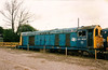 Decay setting in with broken cab windows, 20058 sits at the road entrance to Toton depot on 24 April 1992. She had only been withdrawn less than two months earlier.