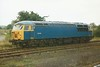 BR blue but without the BR double arrow 56004 stands at Barnetby on 23 October 1997.