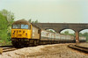 56017 approaches Wellingborough passing under Mill Road bridge on InterCity Diesel Day on 21 May 1989 heading for St. Pancras.