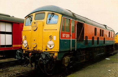 97201 ex 24061 on display at Coalville open day on 31 May 1987. She would be withdrawn in December of the same year.