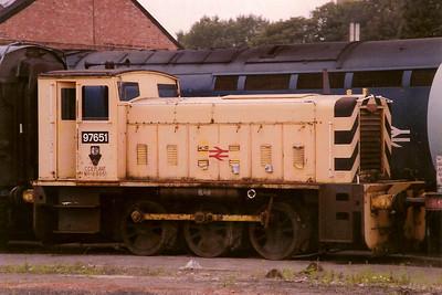 Departmental 97651 stabled on Gloucester Horton Road on 3 September 1988.