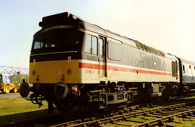 In InterCity livery, 97252 stands in the sun on Stratford depot on 10 April 1988.