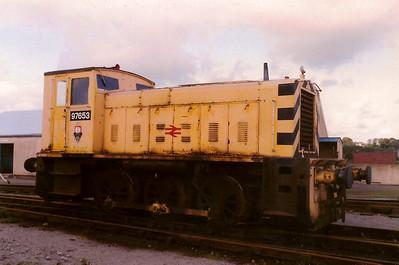 97653 rests between duties in Radyr Yard on 3 September 1988.