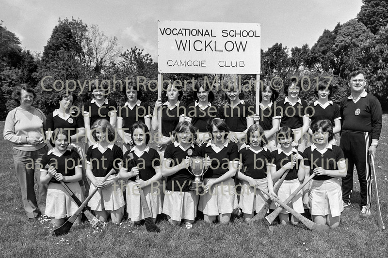 Wicklow Vocational Camogie team.  Circa 1980s