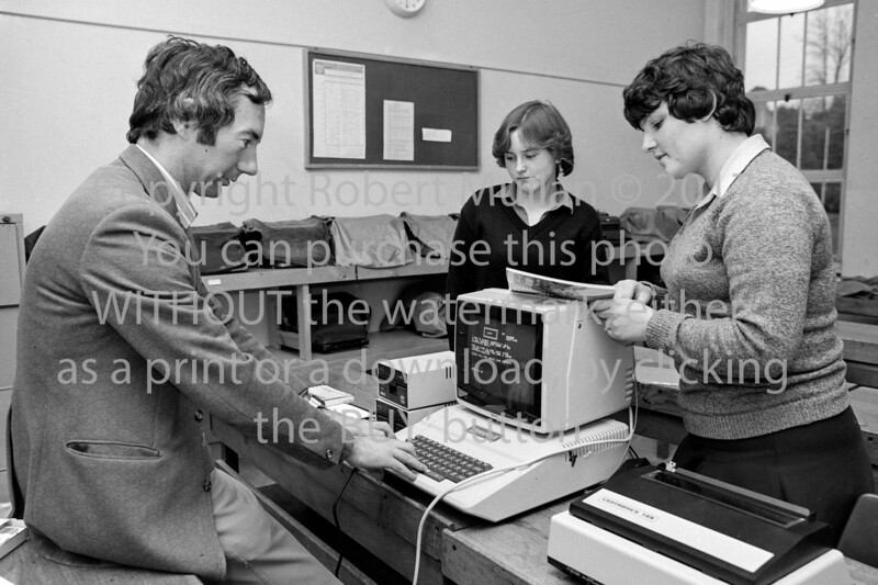 Jim Murphy with an early Apple Computer at Abbey Community College.  Date unknown