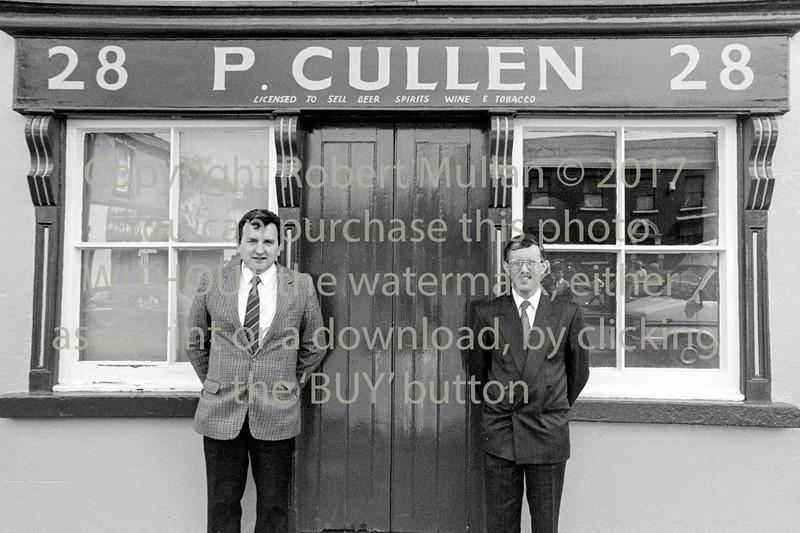 Peter King (on left) outside Cullen's Pub, Main Street, Rathdrum which he later purchased and converted to the Cartoon Inn