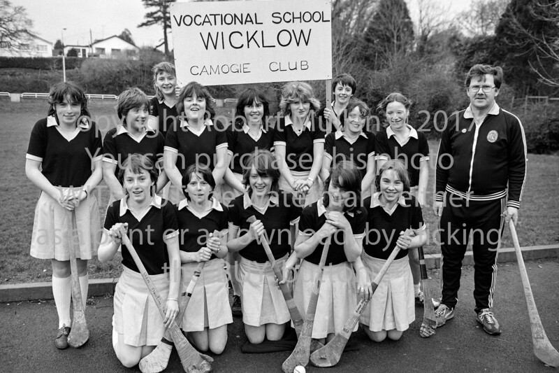 Wicklow Vocational School's Camogie team.  Circa 1980