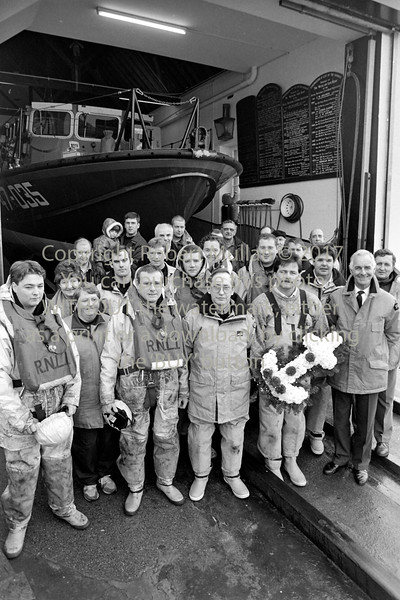 Wicklow RNLI crew before a wreath-laying ceremony - 1980s/90s