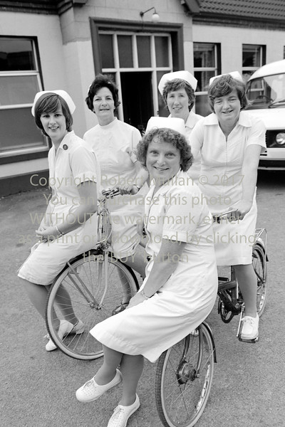 Nurses from Wicklow Hospital who took part in a Sponsored Cycle.  Circa 1981