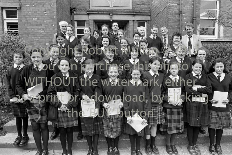 Schoolgirls from Wicklow receiving Junior Traffic Warden certs - 1980s/90s