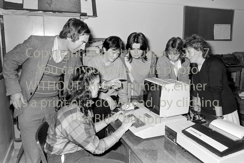 Jim Murphy with students at the Abbey Community College, Wicklow - 1980s/90s