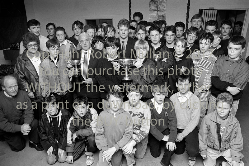 Kevin O'Brien with young footballers - 1980s/90s