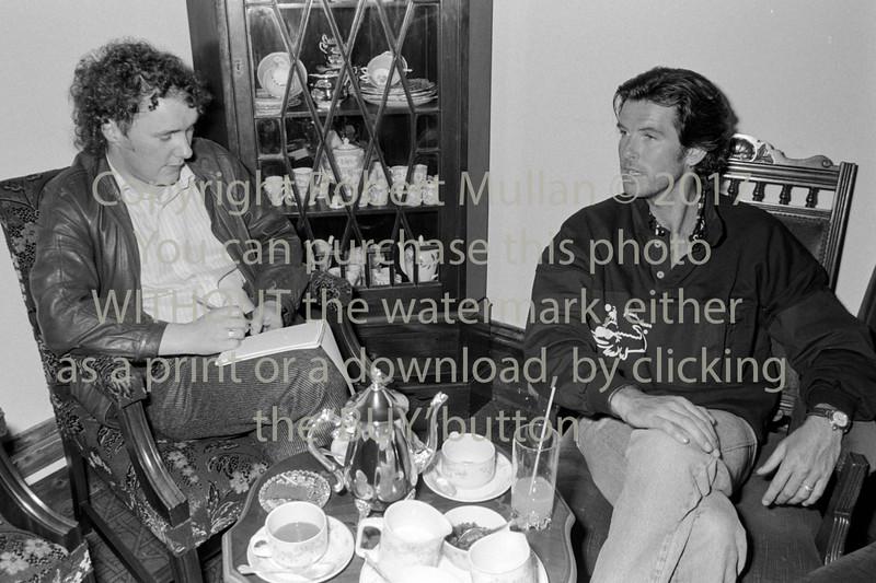 Pierce Brosnan talking to Wicklow People reporter Tony Murphy - 1987